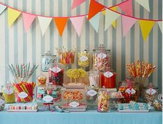 Candy table for July 14th wedding... love this idea!