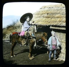 A MAN, A WOMAN, and A HORSE -- With Sandals and Booties for ALL in Old Japan by Okinawa Soba, via Flickr