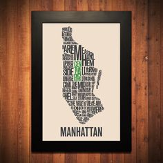 "Huge fan of this theme found on Etsy. MANHATTAN New York City Typography Map Print - 12"" x 18"". $20.00, via Etsy."