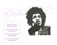 Embroidery Services, Embroidery Files, Machine Embroidery, Embroidery Designs, Rock And Roll History, Best Guitarist, Star Stitch, Jimi Hendrix, Kind Words