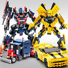 New Arrival Legoings 2 In 1 Transformation Series Robot Vehicle Sport car DIY Building Blocks Kit Toys Kids Best Gifts Drop. Lego Transformers, Transformers Bumblebee, Lego Building Blocks, Building Toys, Optimus Prime, Legos, Toys For Boys, Kids Toys, Children's Toys
