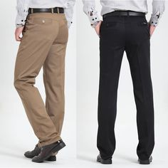 Men's casual pants brand classic full length Suit straight cotton business man thick commercial plus big size 40 42 trousers
