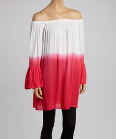 Look what I found on #zulily! Coral & White Tie-Dye Off-Shoulder Peasant Tunic by Indian Tropical Fashions #zulilyfinds