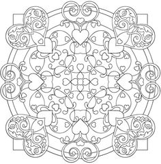 Heart Mandalas Coloring Book/ coloring pages for adults. Doodle ur heart out! Mandala Coloring Pages, Coloring Book Pages, Printable Coloring Pages, Coloring Sheets, Doodles Zentangles, Mandala Pattern, Dover Publications, Colorful Pictures, Bunt
