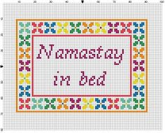 Namastay in Bed  Cross Stitch Pattern  Instant Download