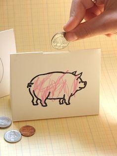 Paper piggy bank for Money Smart Week. Bible Crafts For Kids, Preschool Crafts, Fun Crafts, Homemade Piggy Banks, Piggy Bank Craft, Wooden Wreaths, Paper Crafts Origami, Church Crafts, Journal Paper