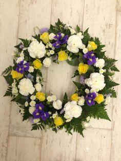 Yellow, White & Blue Wreath