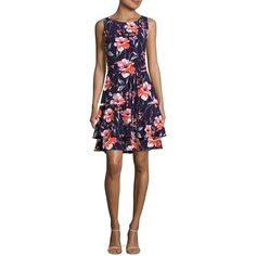 Ivanka Trump Tiered Floral Dress ($118) ❤ liked on Polyvore featuring dresses, navy, ivanka trump, tiered dress, flower pattern dress, floral print sleeveless dress and ivanka trump dresses