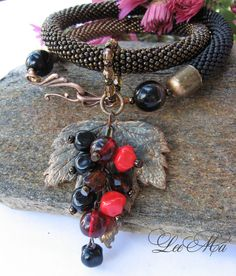 Bead Crochet Necklace The Currant leaf bronze brown by LeeMarina, $98.00