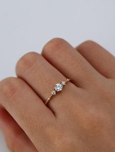 Unique engagement ring Solid 14K gold Moissanite engagement