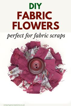 Do you have fabulous fabric scraps? Learn how to make easy fabric flowers. This tutorial makes beautiful fabric flowers perfect as brooches, attached to hair slides or as decor on a bag Easy Fabric Flowers, Material Flowers, Fabric Flower Brooch, Fabric Flower Tutorial, Fabric Ribbon, Diy Flowers, Twine Flowers, Diy Ribbon, Ribbon Crafts