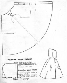 Marvelous Photo of Cloak Sewing Pattern Cloak Sewing Pattern The 1951 Kids Hooded Cloak Cloaks Capes And Hoods Doll Clothes Patterns, Sewing Clothes, Doll Patterns, Clothing Patterns, Diy Clothes, Sewing Patterns, Dress Sewing, Sewing Hacks, Sewing Tutorials