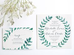 Watercolor Leaves Wreath Wedding Invitation Suite - Digital template or printed invite available by DesignsAC on Etsy