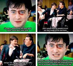 That time he spoke of his old stunt double, Dave. | 25 Times The Internet Fell In Love With Daniel Radcliffe