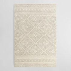 Ivory Diamond Tufted Wool Kelsey Area Rug - v1