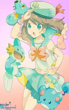 This girl's got plenty of pokemon swimming buddies, for sure! Mega Pokemon, First Pokemon, Pokemon Special, Pokemon Fan Art, Cute Pokemon, Nintendo Pokemon, Sapphire Pokemon, Pokemon Omega Ruby, Ruby Sapphire