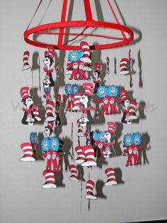 Dr Seuss Cat in the Hat Baby Paper Mobile Dr Seuss Week, Dr Suess, Dr Seuss Nursery, Nursery Themes, Nursery Ideas, Room Ideas, Dr Seuss Baby Shower, Paper Mobile, Browns Gifts
