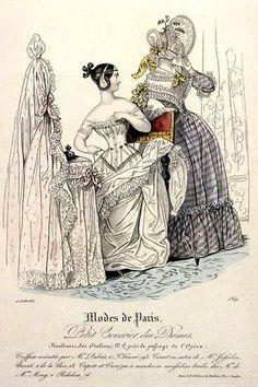 1830. Modes de Paris, Fashion Plate, showing a woman wearing a corset