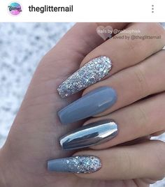 Attractive Acrylic Green and Blue Glitter Coffin NailsTo try the . - Attractive Acrylic Green And Blue Glitter Coffin NailsTo Try This Winter – Chic Cuties - Blue Glitter Nails, Gray Nails, Blue And Silver Nails, Silver Nail Art, Nail Art Blue, Glitter Art, Chorme Nails, Oxblood Nails, Magenta Nails