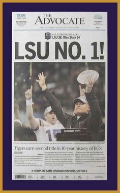 Louisiana State Tigers Wood Mounted Poster Print - LSU NO 1 - 2007 National Champs