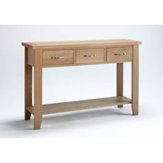 Best price for Sherwood Oak 3 Drawer Console Table. Click & Collect Only from our Essex discount furniture stores in Dagenham, Leigh-on-Sea or Wickford. Large Console Table, Console Tables, Oakwood Furniture, Low Shelves, Shelf, Reception Rooms, Solid Oak, Decoration, Living Room Furniture