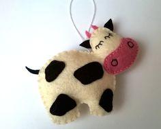 Felt cow ornament handmande Christmas farmhouse by grabacoffee on Etsy