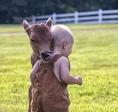 This is so cute! Baby cow, calf, licking a sweet little baby. Kid is all snuggled in for a hug. This pic gives me the warm fuzzies! So Cute Baby, Cute Kids, Animals For Kids, Cute Baby Animals, Farm Animals, Animals And Pets, Beautiful Creatures, Animals Beautiful, Animal Pictures