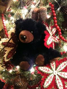 a black bear christmas tree christmas lodge christmas tree themes red christmas holiday