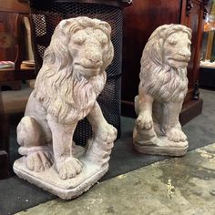 Hear me Roar.  Pair of vintage concrete lions standing 2' tall.  Acquired from a Lexington estate. $195 for the pair. #scout #scoutlexington #lion #statue #garden #lexington by scoutlexington