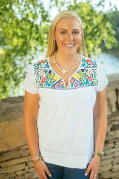 The Aubrey Embroidered Multi Colored Top - Liza Byrd Boutique