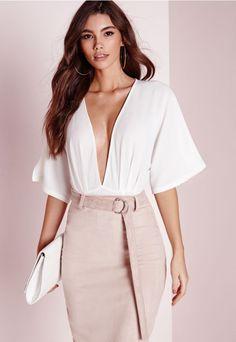 3a2cb5b007 Kimono Sleeve Bodysuit White - Bodysuit - Tops - Missguided Bodysuit Tops