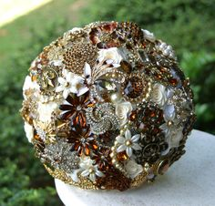 Gold Amber Wedding Brooch Bouquet. Deposit on a by annasinclair, $550