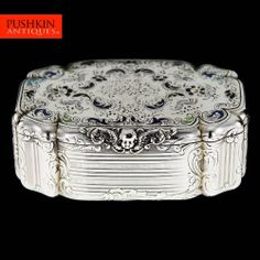 ANTIQUE 20thC FRENCH SOLID SILVER CHAMPLEVE ENAMEL TABLE SNUFF BOX c.1900