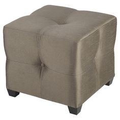 Tufted cube ottoman with exposed feet and taupe upholstery. Product: OttomanConstruction Material: Engineered wo...