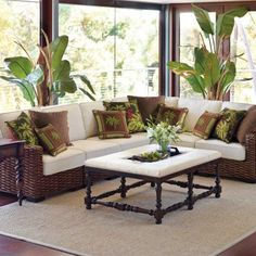"""Love this look if I move.  I definetly want a fabric I can """"wipe"""" off!  Bombay Woven Indoor Modular Seating"""