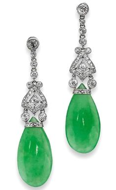 A pair of Art Deco jadeite and diamond pendent earrings Each round brilliant-cut diamond surmount suspending a row of single-cut diamonds leading to a millegrained plaque of geometric design, set throughout with old round brilliant and single-cut diamonds, terminating in a pearshaped jadeite, to post and scroll fittings, length 49mm, the jadeites measuring approximately 23 x 11mm, the jadeites untested, the diamonds estimated to weigh approximately 0.78ct in total