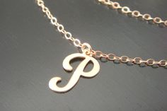 Rose Gold Single letter Necklace Pink Gold Initial by ElegantSwan, $27.75