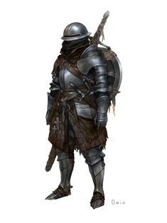 Youngmin Seo : Character Painting (Mercenary) By. Fantasy Character Design, Character Design Inspiration, Character Concept, Character Art, Dungeons And Dragons Characters, Dnd Characters, Fantasy Characters, Medieval Armor, Medieval Fantasy