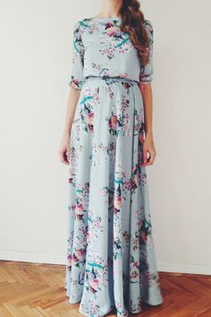 Floral bird print maxi chiffon dress