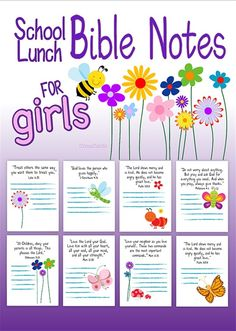 School Lunch Bible Notes for Girls - Free Printable! From Crosscards