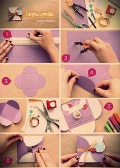 Tarjeta shared by Sofía ✯ on We Heart It Easy Paper Crafts, Diy Crafts For Gifts, Diy Paper, Tarjetas Diy, Diy Envelope, Diy Gift Box, Gift Boxes, Art N Craft, Diy Birthday