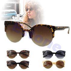 Fashion Unisex Oversized Vintage Retro Cats Eye Sunglasses Black Round  Designer 0f8b64da30