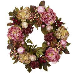 Faux Peony & Hydrangea Wreath @Maggie Pacillas