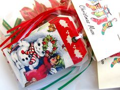 Adorable Christmas gift tags made from vintage cards, glitter and ribbon at xmasmuse.etsy.com