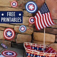 Decorate and celebrate with these free printables! Captain America Party, Captain America Birthday, 4th Birthday Parties, Birthday Fun, Welcome Home Parties, I Love America, Patriotic Party, Superhero Party, Independence Day