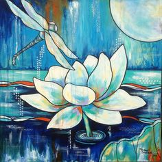 Peaceful Nightime Art. great for beach or lake house. Lotus water lily flower Moon Dragonfly white blue original painting by Melanie Douthit