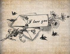 Antique Envelope Sparrows I Love You Bride Wedding Digital Download for Tea Towels, Papercrafts, Transfer, Pillows, etc Burlap No 3193. $1.00, via Etsy.