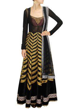 Black and yellow applique work embellished anarkali set by JJ Valaya. Shop now: www.perniaspopups.... #jjvalaya #clothing #designer #shopnow #happyshopping #perniaspopupshop