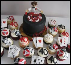 Casino birthday cake! Casino cupcakes!  Visit www.etsy.com/shop/cakedevils to purchase this set!