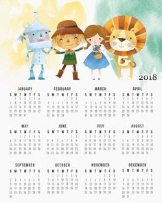 Lions and Tigers and Bears OH MY! It's time for a Free Printable 2018 The Wizard of OZ Calendar. Drop by and snatch up this cuties for your desk!